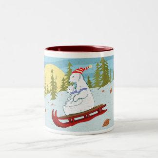 Polar bears on sled Two-Tone coffee mug