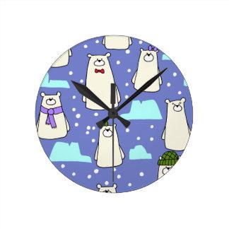 polar bears round clock