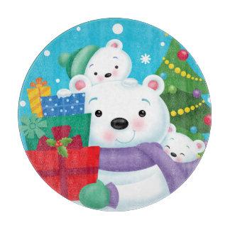 Polar Bears Round Glass Cutting Board