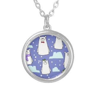 polar bears silver plated necklace