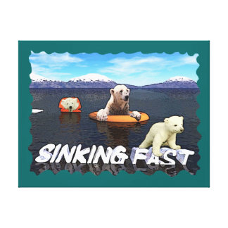 Polar Bears - Sinking Fast Stretched Canvas Prints