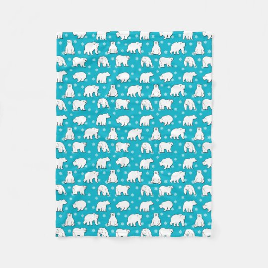 Polar Bears Snowflakes Bright Blue Fleece Blanket