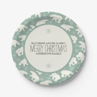 Polar Bears & Snowflakes Christmas Template Paper Plate