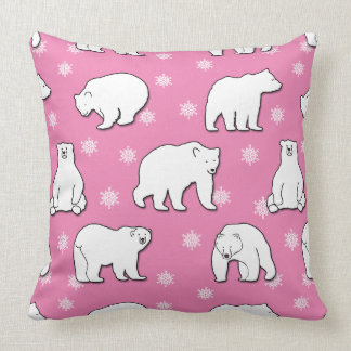 Polar Bears Snowflakes Pink Square Accent Pillow