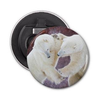 Polar Bears sparring 2 Button Bottle Opener