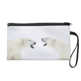 Polar Bears standing on snow after playing Wristlet Clutch