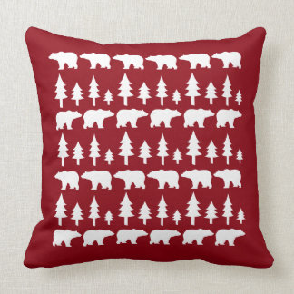 POLAR BEARS & TREES Christmas Vintage Throw Pillow