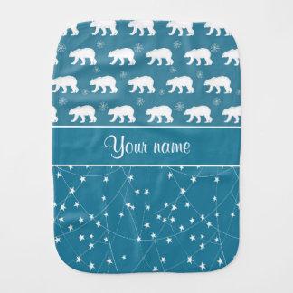 Polar Bears Twinkling Stars Personalized Burp Cloth