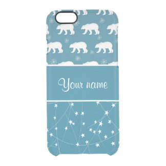 Polar Bears Twinkling Stars Personalized Clear iPhone 6/6S Case