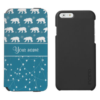 Polar Bears Twinkling Stars Personalized Incipio Watson™ iPhone 6 Wallet Case
