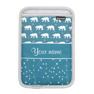 Polar Bears Twinkling Stars Personalized iPad Mini Sleeve