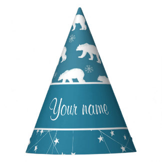 Polar Bears Twinkling Stars Personalized Party Hat