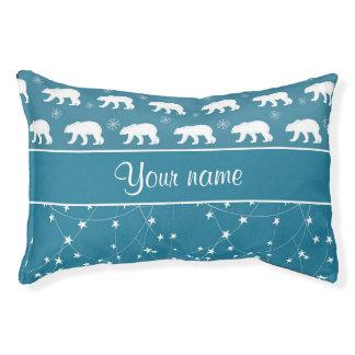 Polar Bears Twinkling Stars Personalized Pet Bed