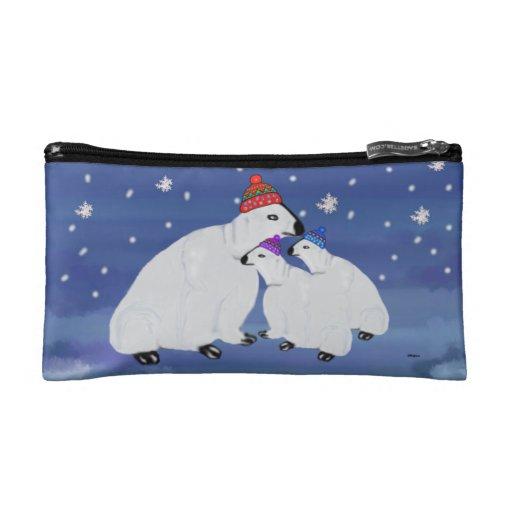 Polar Bears Winter Cosmetic Bag