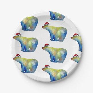 Polar Santa Bear Custom Paper Plates 7 in
