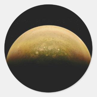Polar View of jupiter Classic Round Sticker