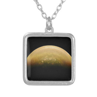 Polar View of jupiter Silver Plated Necklace