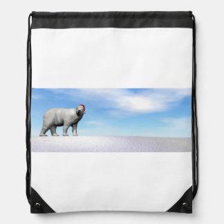 Polar white bear for christmas - 3D render Drawstring Bag