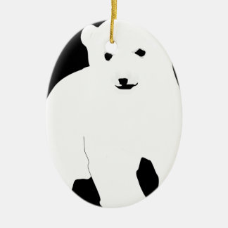 PolarBearCubBlackSF Ceramic Ornament