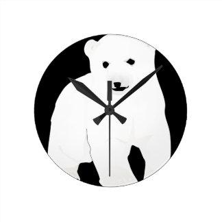 PolarBearCubBlackSF Round Clock