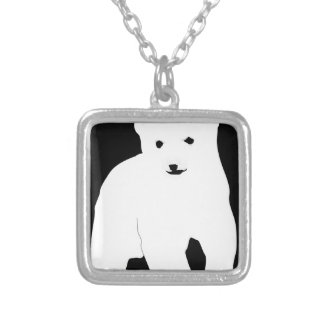 PolarBearCubBlackSF Silver Plated Necklace