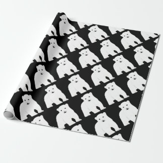 PolarBearCubBlackSF Wrapping Paper