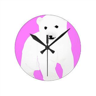 PolarBearCubPinkSF Round Clock