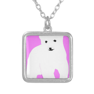 PolarBearCubPinkSF Silver Plated Necklace