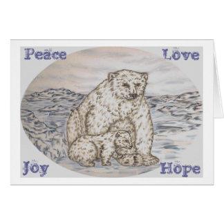 polarbears, Peace, Love, Hope, Joy Greeting Card
