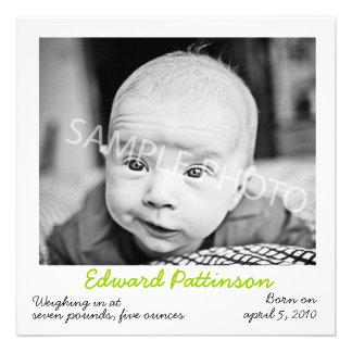 Polaroid Green Birth Announcement