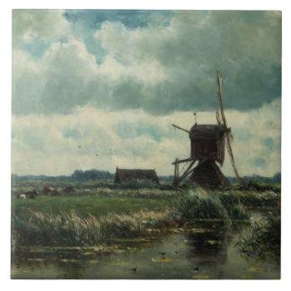 Polder landscape with windmill, Willem Roelofs Ceramic Tile