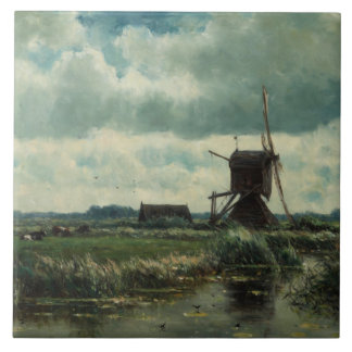 Polder landscape with windmill, Willem Roelofs Tile