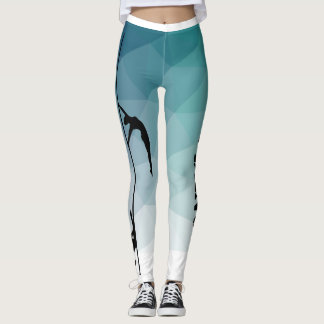 Pole Dance Fitness Blue and Green Leggings