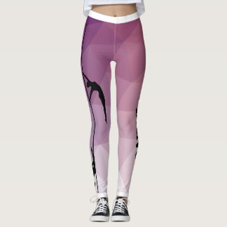 Pole Fitness Dance Purple and Pink Leggings