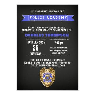 Police Academy Graduate Chalkboard Invitation