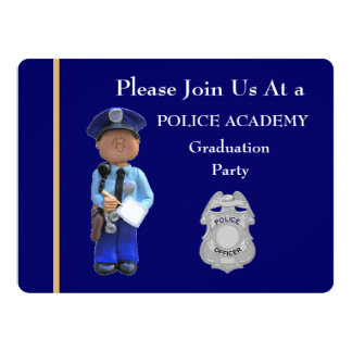 Police Academy White Male Graduation Invitation
