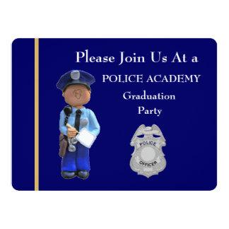 Police Academy White Male Graduation Invitation