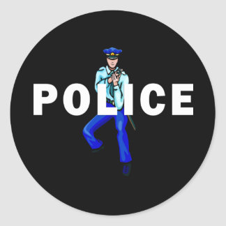 Police Action Classic Round Sticker