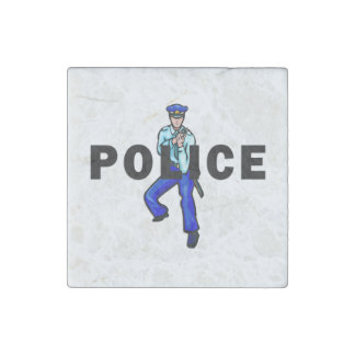 Police Action Logo Stone Magnets