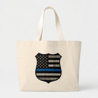 Police Badge Blue Line Large Tote Bag