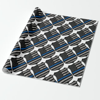 Police Badge Blue Line Wrapping Paper