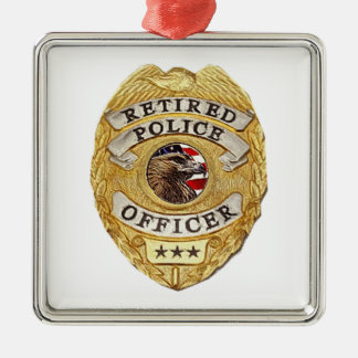 Police_Badge_Retired Metal Ornament
