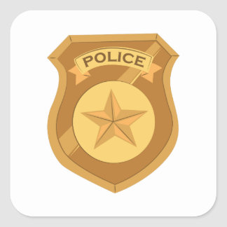 Police Badge Square Sticker