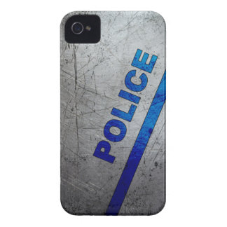 Police - Blue on scratched metal Case-Mate iPhone 4 Case
