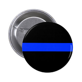 Police Blue Thin Line Button. 2 Inch Round Button
