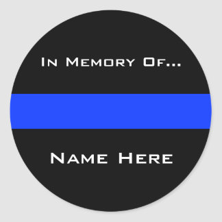 Police Blue Thin Line Classic Round Sticker