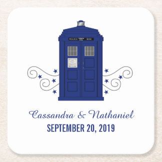 Police Box Wedding Paper Coasters v3