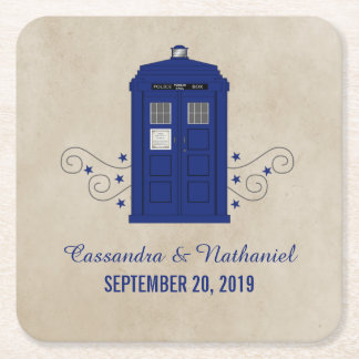 Police Box Wedding Paper Coasters v6