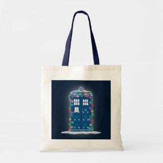 """""""Police Box with Christmas Lights"""" Tote Bag"""