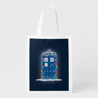 """""""Police Box with Christmas Lights"""" Market Totes"""